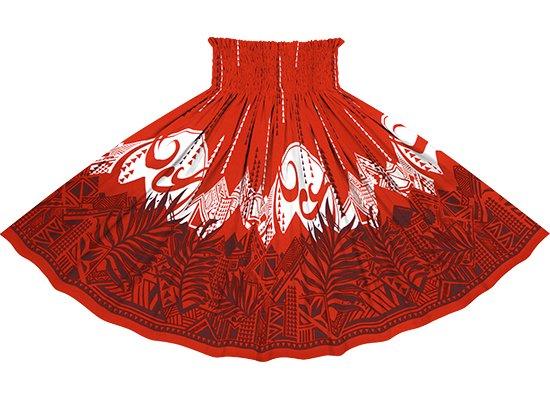 赤のパウスカート ヤシ・オヘカパラ柄 spau-rm-2750RD 71cm 3本ゴム【既製品】
