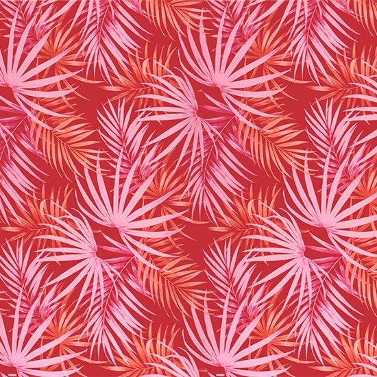 【カット生地】(2.5ヤード) 赤のハワイアンファブリック ヤシ柄 fab-2.5y-2401RD 【4yまでメール便可】