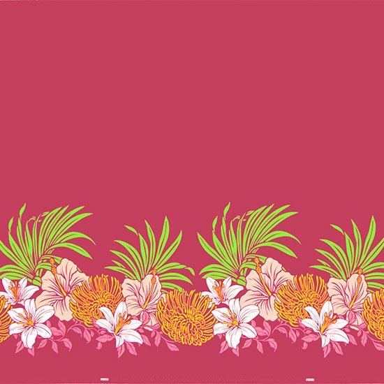 【カット生地】(2.5ヤード) ピンクのハワイアンファブリック ハイビスカス・リリー・ピンクッション柄 fab-2.5y-2487Pi 【4yまでメール便可】