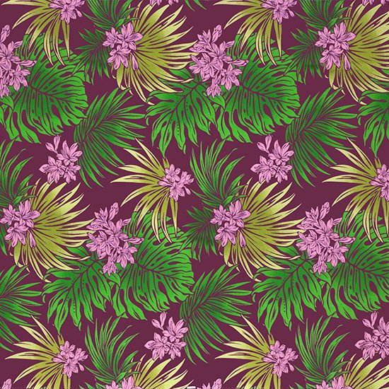 【カット生地】(2.5ヤード) 紫のハワイアンファブリック リリー・モンステラ・ラウアエ柄 fab-2521PP 【4yまでメール便可】