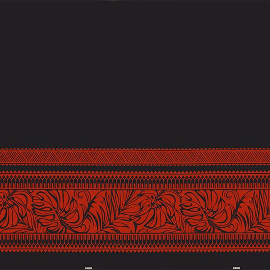 【カット生地】(2.5ヤード) 黒と赤のハワイアンファブリック モンステラ・タパ・ボーダー柄 fab-2.5y-2598BKRD 【4yまでメール便可】