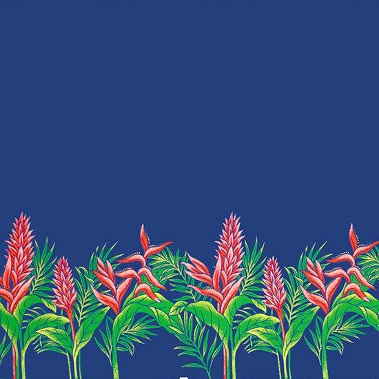 【カット生地】(2.5ヤード) 青のハワイアンファブリック レッドジンジャー・ヘリコニア柄 fab-2.5y-2654BL 【4yまでメール便可】