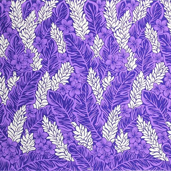 【カット生地】(3ヤード) 紫のファブリック プルメリア・ジンジャー柄 fab-3y-2471PP 【4yまでメール便可】