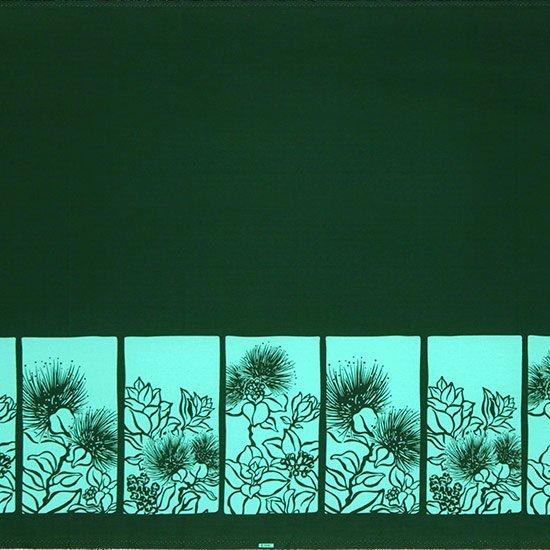 【カット生地】(3ヤード) 緑と水色のハワイアンファブリック レフア柄 fab-3y-2525GNAQ 【4yまでメール便可】