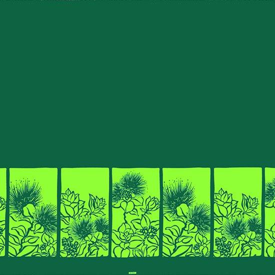 【カット生地】(3ヤード) 緑ときみどりのハワイアンファブリック レフア柄 fab-3y-2525GNLG 【4yまでメール便可】