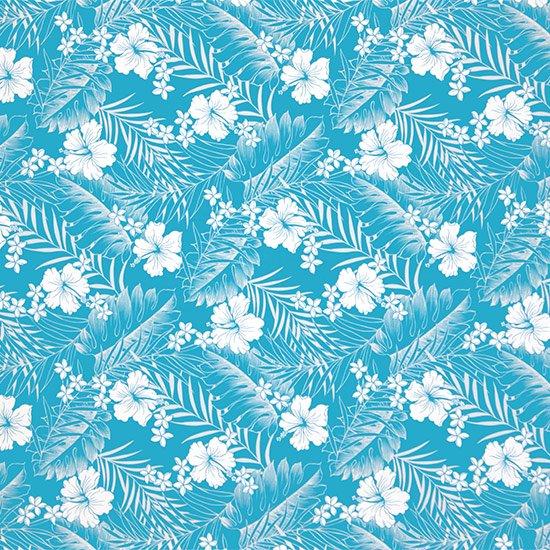 【カット生地】(3ヤード) 水色のハワイアンファブリック ハイビスカス・プルメリア・リーフ柄 fab-3y-2585AQ 【4yまでメール便可】