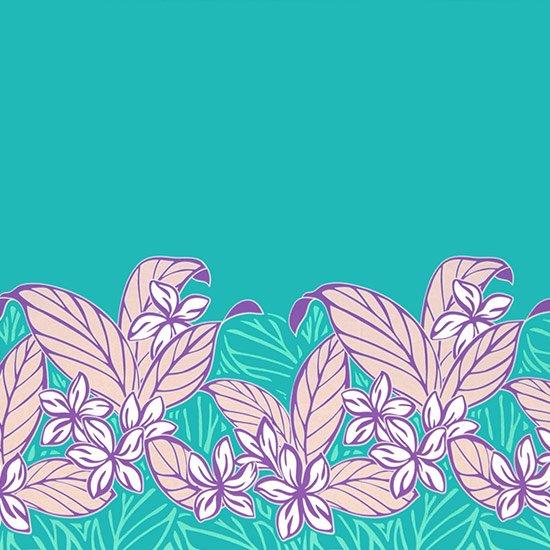 【カット生地】(3ヤード) 水色のハワイアンファブリック プルメリア大柄 fab-3y-2617AQ 【4yまでメール便可】