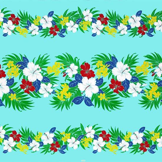 【カット生地】(3.5ヤード) 水色のハワイアンファブリック ハイビスカス・プルメリア・ヤシ柄 fab-3.5y-2459AQ 【4yまでメール便可】