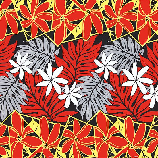 【カット生地】(3.5ヤード) 赤と黒のハワイアンファブリック ティアレ・ラウアエ柄 fab-2640RDBK 【4yまでメール便可】
