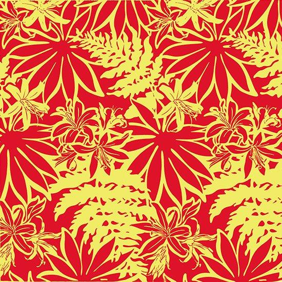 【カット生地】(3.5ヤード) 赤のハワイアンファブリック リリー・パラパライ柄 fab-3.5y-2393RDYW 【4yまでメール便可】