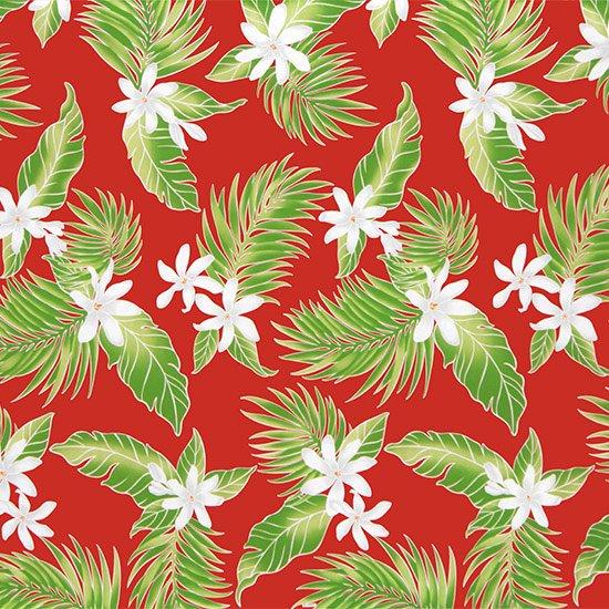 【カット生地】(3.5ヤード) 赤のハワイアンファブリック ティアレ・ヤシ柄 fab-3.5y-2632RD 【4yまでメール便可】