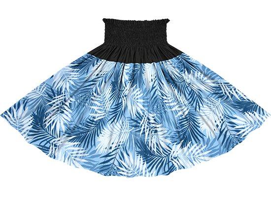 【切り替えパウスカート】 青のヤシ柄とブラックの無地 ykpau-2789BL