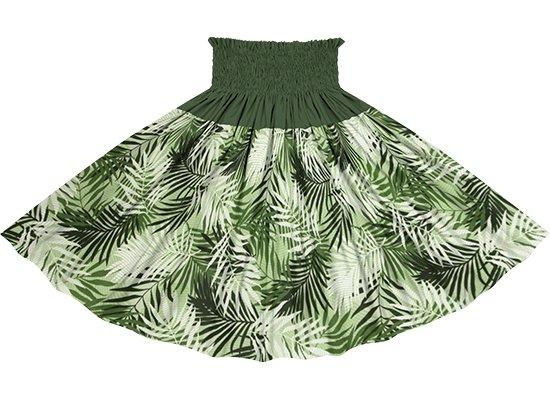 【切り替えパウスカート】 緑のヤシ柄とモスグリーンの無地 ykpau-2789GN