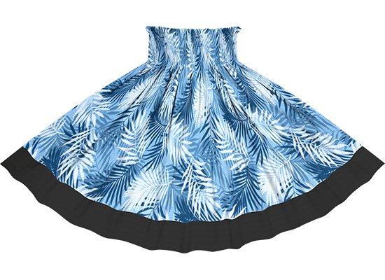 【ポエポエパウスカート】青のヤシ柄とブラックの無地 pppau-r-2789BL