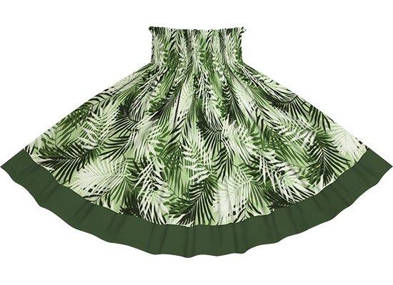 【ポエポエパウスカート】 緑のヤシ柄とモスグリーンの無地 pppau-r-2789GN