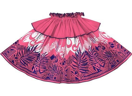 【モーハラパウスカート】 ピンクのヤシ・オヘカパラ柄にグレープのパイピング mhpau-2750Pi