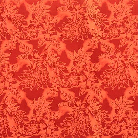 赤のファブリック プルメリア・ラウアエ・タロ総柄 fab-2371RD 【4yまでメール便可】【NPS】