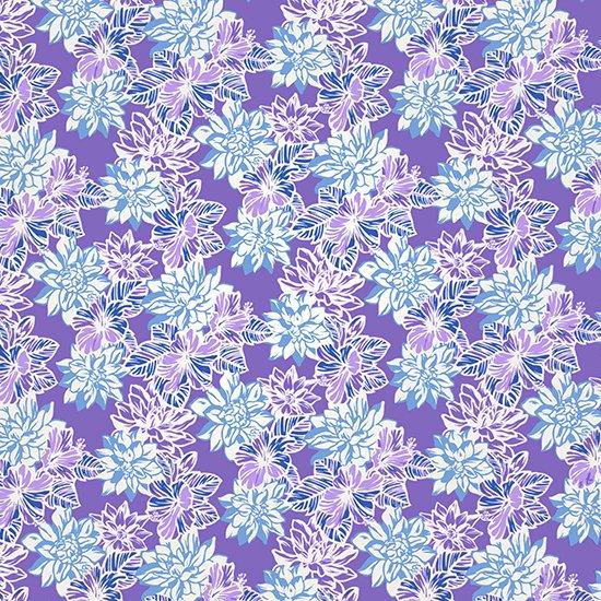 紫のハワイアンファブリック 水色のガーデニア・ハイビスカス柄 fab-2515PPAQ 【4yまでメール便可】【NPS】