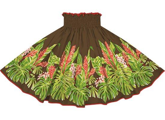 【パイピングパウスカート】茶色のモンステラ・ジンジャー柄 チェリーレッドのパイピング pipau-2672BR