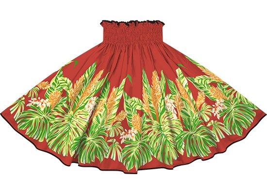 【パイピングパウスカート】赤のモンステラ・ジンジャー柄 ブラックのパイピング pipau-2672RD