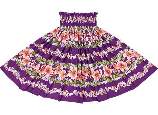 【蔵出し】 紫のパウスカート ハイビスカス・プルメリアレイ・ボーダー柄 spau-2584PP-re