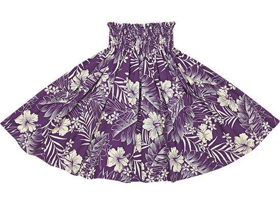 【蔵出し】 紫のパウスカート ハイビスカス・プルメリア・リーフ柄 spau-2585PP-re