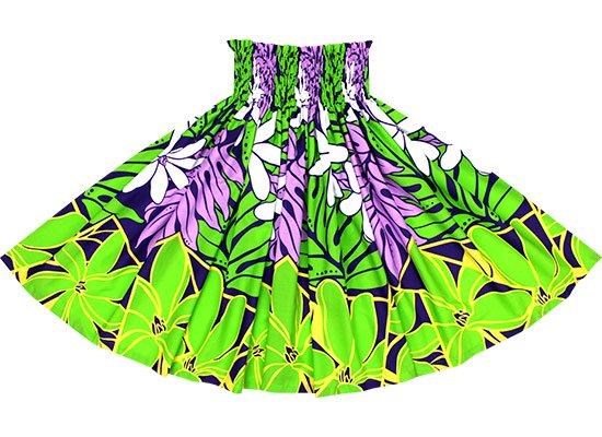 【蔵出し】 きみどりと紫のパウスカート ティアレ・ラウアエ柄 spau-2640LGPP-re