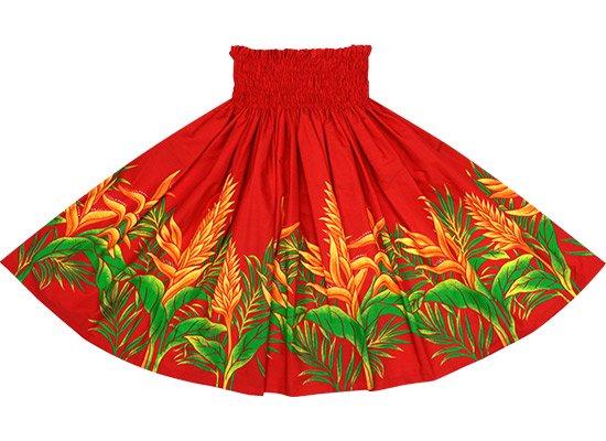 【蔵出し】 赤のパウスカート レッドジンジャー・ヘリコニア柄 spau-2654RD-re