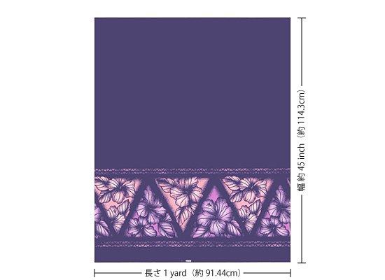 【カット生地】(1ヤード) 紫のハワイアンファブリック ハイビスカス・タパ・ボーダー柄 fab-1y-2622PP 【4yまでメール便可】