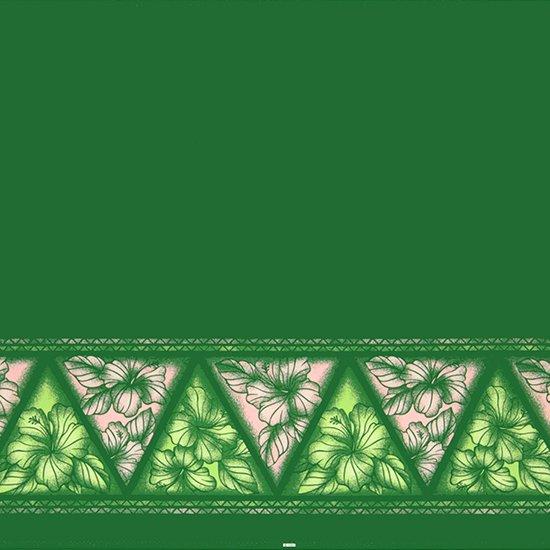 【カット生地】(1.5ヤード) 緑のハワイアンファブリック ハイビスカス・タパ・ボーダー柄 fab-1.5y-2622GN 【4yまでメール便可】