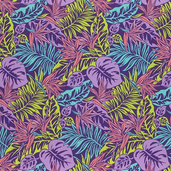 【カット生地】(2ヤード) 紫のハワイアンファブリック バードオブパラダイス・ヤシ柄 fab-2y-2615PP 【4yまでメール便可】