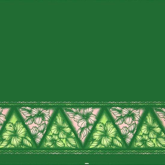 【カット生地】(2ヤード) 緑のハワイアンファブリック ハイビスカス・タパ・ボーダー柄 fab-2y-2622GN 【4yまでメール便可】