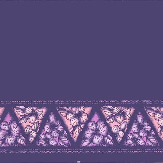 【カット生地】(2ヤード) 紫のハワイアンファブリック ハイビスカス・タパ・ボーダー柄 fab-2y-2622PP 【4yまでメール便可】