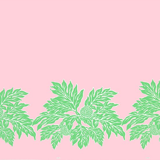 【カット生地】(2ヤード) ピンクと緑のハワイアンファブリック ウル柄 fab-2y-2625PiGN 【4yまでメール便可】