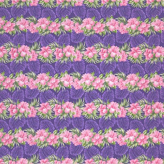 【カット生地】(2ヤード) 紫のハワイアンファブリック ハイビスカス・モンステラ柄 fab-2y-2626PP 【4yまでメール便可】