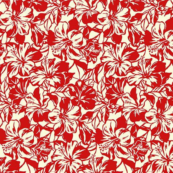 【カット生地】(2ヤード) クリーム色と赤のハワイアンファブリック ハイビスカス柄 fab-2y-2650CRRD 【4yまでメール便可】