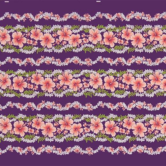 【カット生地】(2.5ヤード) 紫のハワイアンファブリック ハイビスカス・プルメリアレイ・ボーダー柄 fab-2.5y-2584PP 【4yまでメール便可】