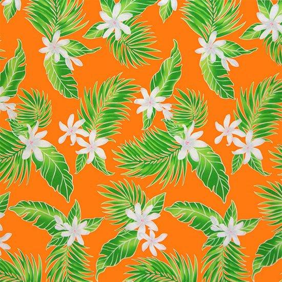【カット生地】(2.5ヤード) オレンジのハワイアンファブリック ティアレ・ヤシ柄 fab-2.5y-2632OR 【4yまでメール便可】
