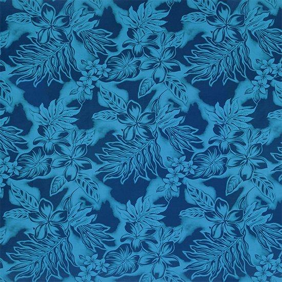 【カット生地】(3ヤード) 青のハワイアンファブリック プルメリア・ラウアエ・タロ総柄 fab-3y-2371BL 【4yまでメール便可】