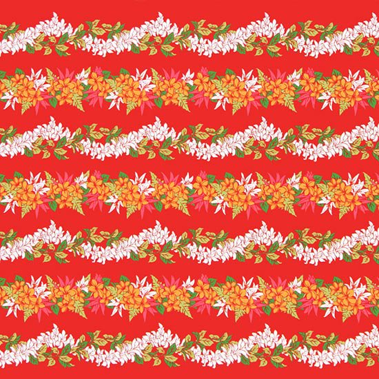 【カット生地】(3ヤード) 赤のハワイアンファブリック プルメリアレイ・ボーダー柄 fab-3y-2553RD 【4yまでメール便可】