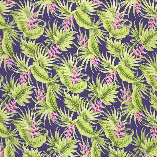 【カット生地】(3ヤード) 紫のハワイアンファブリック ヘリコニア・モンステラ・ヤシ柄 fab-3y-2605PP 【4yまでメール便可】