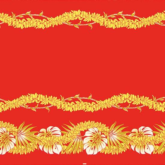 【カット生地】(3ヤード) 赤のハワイアンファブリック モンステラ・プルメリア・レイ柄 fab-3y-2609RD 【4yまでメール便可】