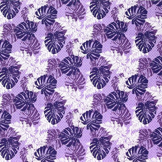 【カット生地】(3ヤード) 紫のハワイアンファブリック モンステラ・パラパライ柄 fab-3y-2646PP 【4yまでメール便可】