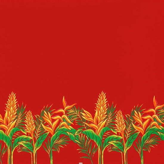 【カット生地】(3.5ヤード) 赤のハワイアンファブリック レッドジンジャー・ヘリコニア柄 fab-3.5y-2654RD 【4yまでメール便可】