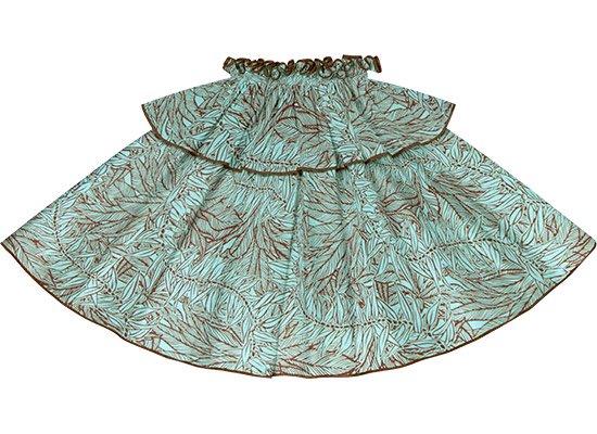 【モーハラパウスカート】 水色のティリーフ柄にウォールナットのパイピング mhpau-2764AQ