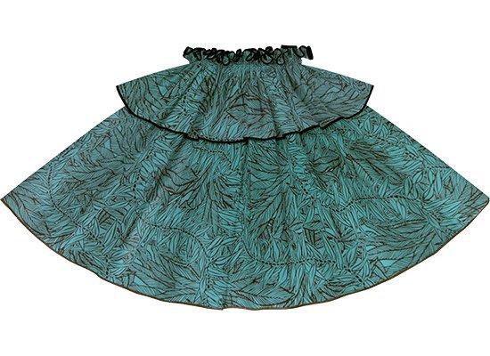 【モーハラパウスカート】 青のティリーフ柄にブラックのパイピング mhpau-2764BL