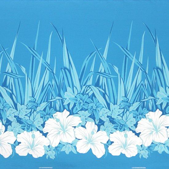 水色のハワイアンファブリック ハイビスカス・オーキッド柄 fab-2799AQ 【4yまでメール便可】