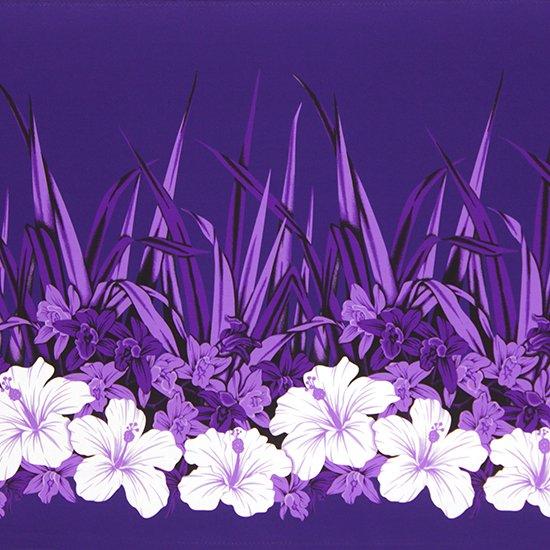 紫のハワイアンファブリック ハイビスカス・オーキッド柄 fab-2799PP 【4yまでメール便可】