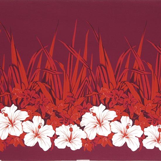 赤のハワイアンファブリック ハイビスカス・オーキッド柄 fab-2799RD 【4yまでメール便可】