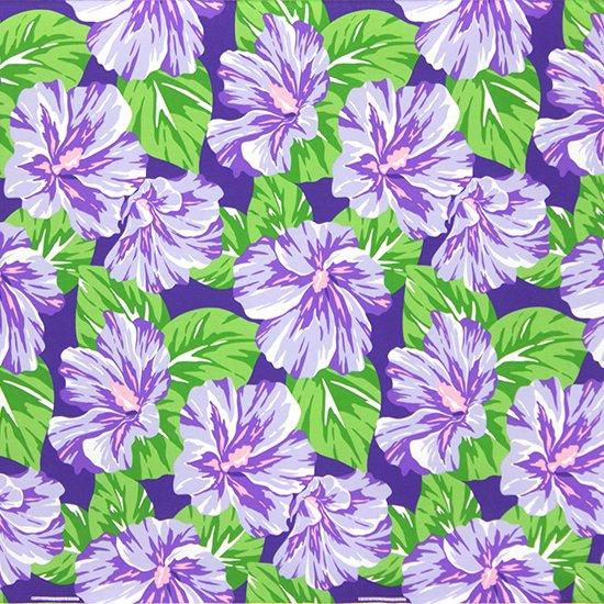 紫のハワイアンファブリック ハイビスカス大柄 fab-2800PP 【4yまでメール便可】